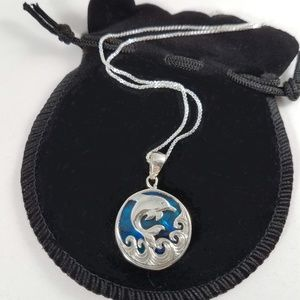 Jewelry - Natural Abalone Dolphin Pendant in Sterling Silver